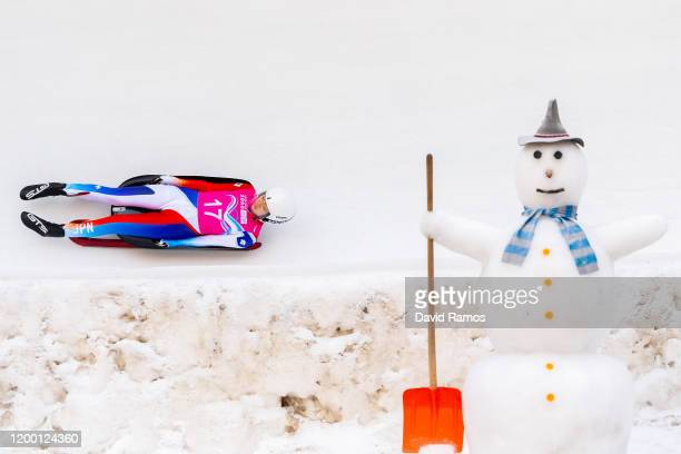 Yuki Ishikawa of Japan competes in Women's Singles Competition second run in luge during day 8 of the Lausanne 2020 Winter Youth Olympics at St....