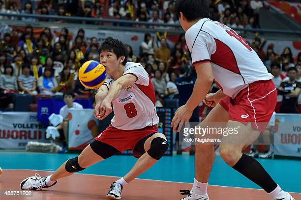Yuki Ishikawa of Japan receives the ball in the match against Venezuela during the FIVB Men's Volleyball World Cup Japan 2015 at the Osaka Municipal...