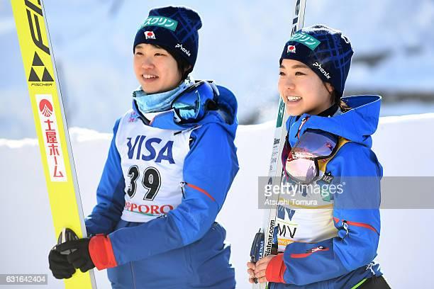Yuki Ito and Sara Takanashi of Japan smile during the Normal hill Individual during the FIS Women's Ski Jumping World Cup Sapporo at the Miyanomori...