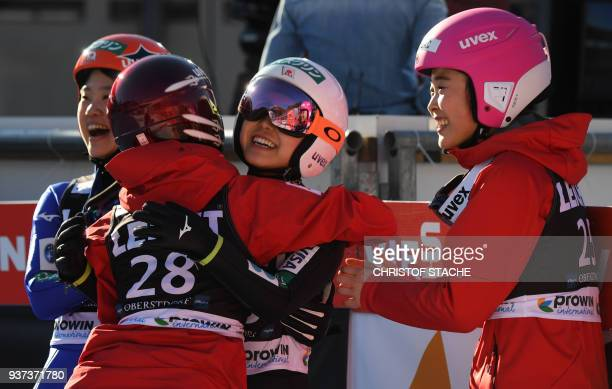 Yuki Ito Kaori Iwabuchi Sara Takanashi and Yuka Seto from Japan celebrate the victory of Sara Takanashi at the ski jumping World Cup Ladies...