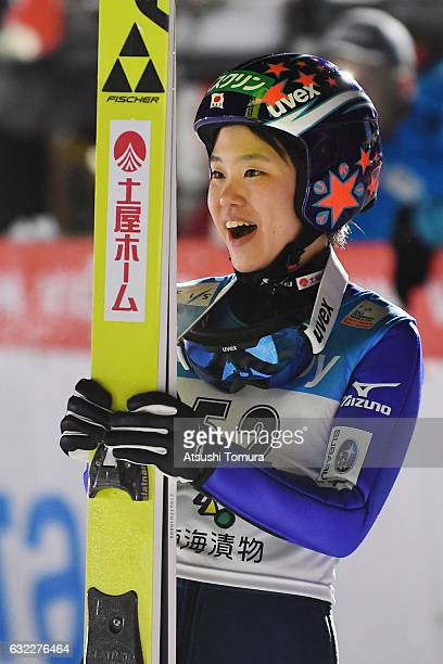 Yuki Ito of Japan celebrates after winning the Ladies' HS106 during the FIS Ski Jumping World Cup Ladies 2017 In Zao at Zao Jump Stadium on January...
