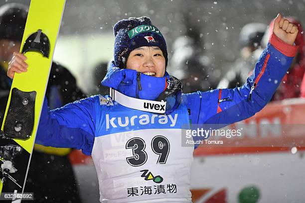Yuki Ito of Japan celebrates after winning the Ladies' HS106 normal hill individual during the FIS Ski Jumping World Cup Ladies 2017 In Zao at Zao...