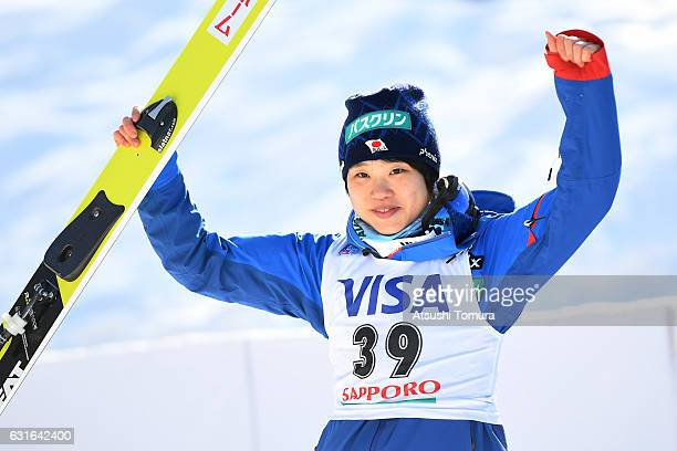 Yuki Ito of Japan celebrates after winning the Normal hill Individual during the FIS Women's Ski Jumping World Cup Sapporo at the Miyanomori Ski jump...