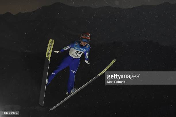 Yuki Ito of Japan competes during the offical training on day one of the FIS Ski Jumping Women's World cup Zao at Kuraray Zao Schanze on January 18...