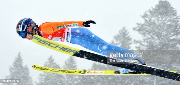 Yuki Ito of Japan competes in the first jump of the Women's Team duirng day two of the FIS Ski Jumping World Cup Hinterzarten on December 16 2017 in...