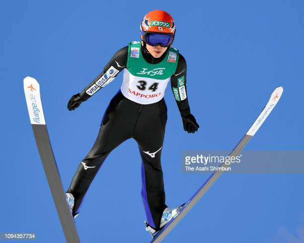 Yuki Ito of Japan competes in the first jump on day two of the FIS Ski Jumping World Cup Ladies Sapporo at Okurayama Jump Stadium on January 13 2019...