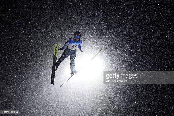 Yuki Ito of Japan competes in the Ladies' HS106 normal hill individual during the FIS Ski Jumping World Cup Ladies 2017 In Zao at Zao Jump Stadium on...