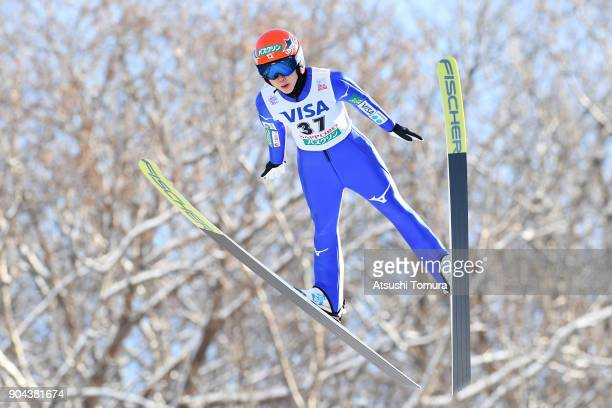 Yuki Ito of Japan competes in the Ladies normal hill individual during day one of the FIS Ski Jumping Women's World cup at Miyanomori Ski Jump...