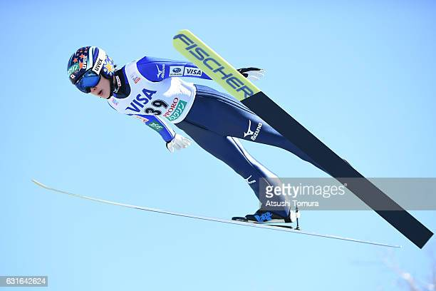 Yuki Ito of Japan competes in the Normal hill Individual during the FIS Women's Ski Jumping World Cup Sapporo at the Miyanomori Ski jump stadium on...