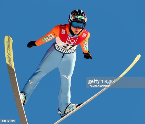Yuki Ito of Japan competes in the second jump of the FIS Ski Jumping Women's World Cup on December 3 2017 in Lillehammer Norway