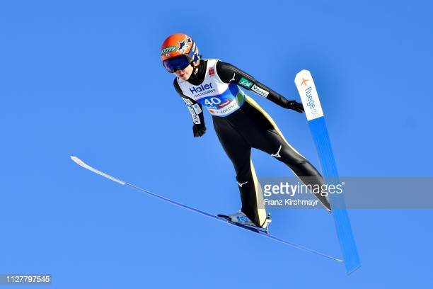 Yuki Ito of Japan during the Ski Jumping Competition Ladies HS109at the FIS Nordic World Ski Championships at Toni Seelos Schanze Seefeld on February...