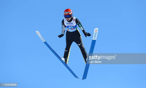 Yuki Ito of Japan jumps during the qualification of the HS109 women's ski jumping Competition of the FIS Nordic World Ski Championships at Toni...