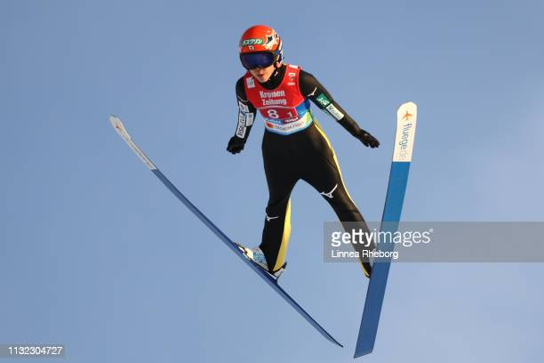 Yuki Ito of Japan jumps during the second round of the HS109 women's ski jumping Competition of the FIS Nordic World Ski Championships at Toni Seelos...