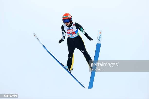 Yuki Ito of Japan jumps in the Mixed Team Ski Jumping HS109 competition during the FIS Nordic World Ski Championships on March 2 2019 in Seefeld...