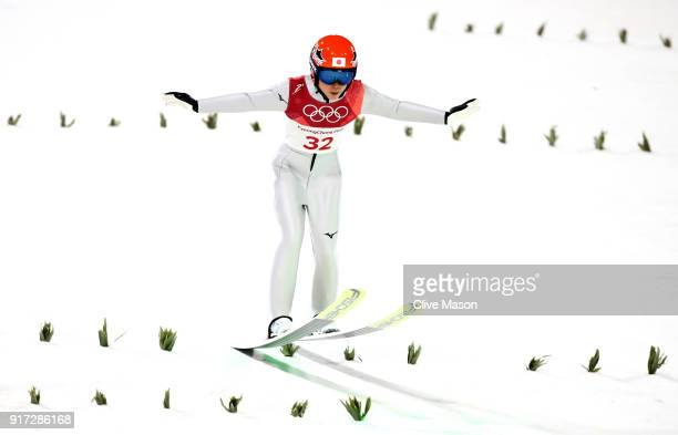 Yuki Ito of Japan lands a trial jump during the Ladies' Normal Hill Individual Ski Jumping Final on day three of the PyeongChang 2018 Winter Olympic...