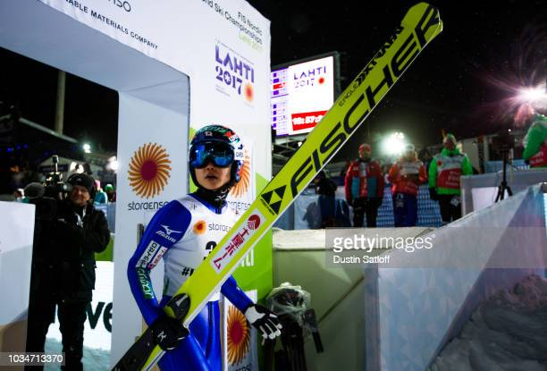 Yuki Ito of Japan leaves the finish area in the Women's Ski Jumping HS100 during the FIS Nordic World Ski Championships on February 24 2017 in Lahti...