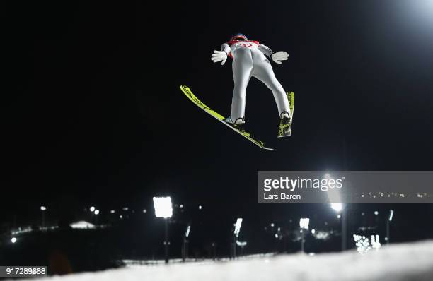 Yuki Ito of Japan makes a trial jump during the Ladies' Normal Hill Individual Ski Jumping Final on day three of the PyeongChang 2018 Winter Olympic...
