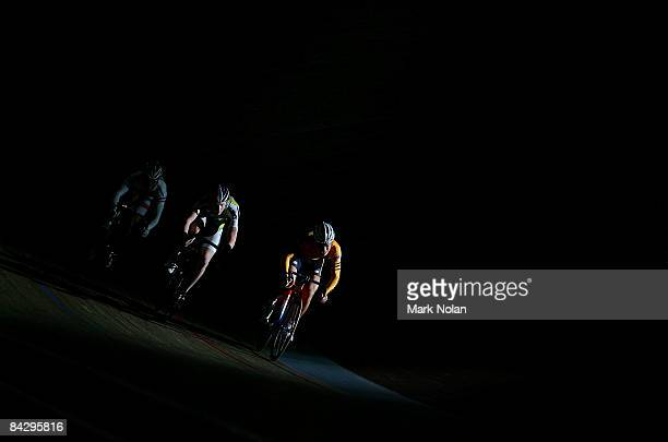 Yuki Ito of Japan Matt Vermunt of New Zealand and Mohd Fattah Amri Zaid of Malaysia compete in a ride off for placings in the mens sprint during the...