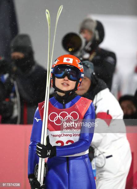 Yuki Ito of Japan reacts after a jump during the Ladies' Normal Hill Individual Ski Jumping Final on day three of the PyeongChang 2018 Winter Olympic...