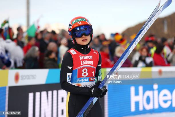 Yuki Ito of Japan reacts after her jump during the first round of the HS109 women's ski jumping Competition of the FIS Nordic World Ski Championships...