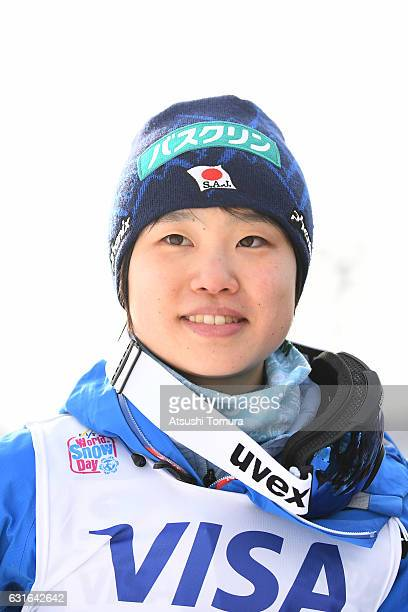 Yuki Ito of Japan smiles after winning the Normal hill Individual during the FIS Women's Ski Jumping World Cup Sapporo at the Miyanomori Ski jump...