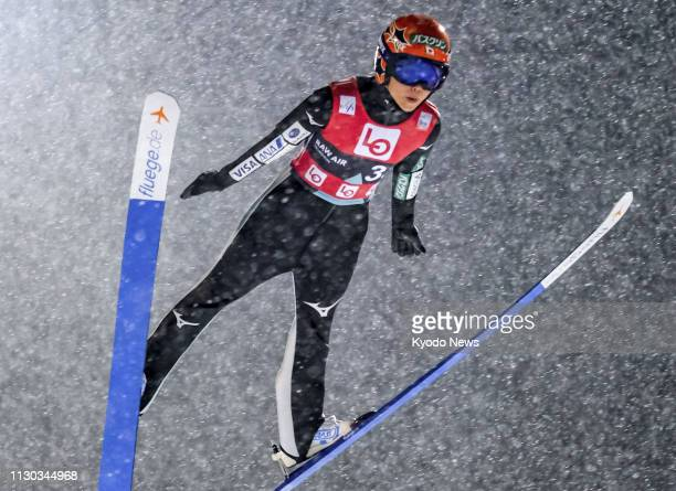Yuki Ito of Japan soars through the air during the qualification round at a women's World Cup ski jumping event in Trondheim Norway on March 13 2019...