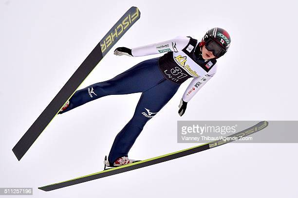 Yuki Ito of Japan takes 3rd place during the FIS Nordic World Cup Women's Ski Jumping HS100 on February 19 2016 in Lahti Finland