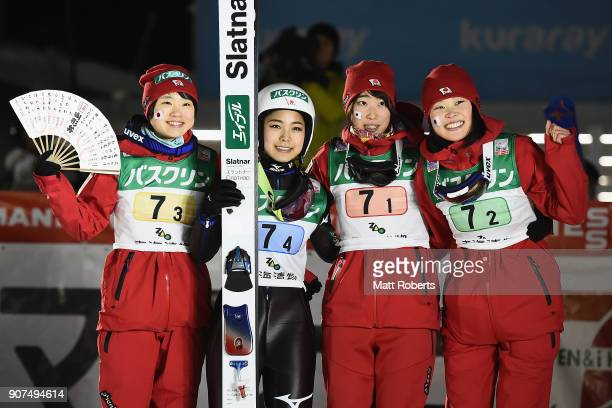 Yuki Ito Sara Takanashi Kaori Iwabuchi and Yuka Seto of Japan pose for a photograph after winning the Ladies' Team HS102 during day three of the FIS...