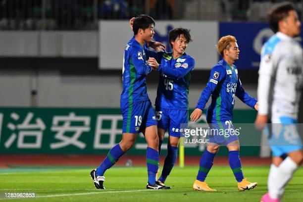 Yuki KAKITA of Tokushima Vortis celebrates scoring his side's third goal with his teammate Koki SUGIMORI during the J.League Meiji Yasuda J2 match...