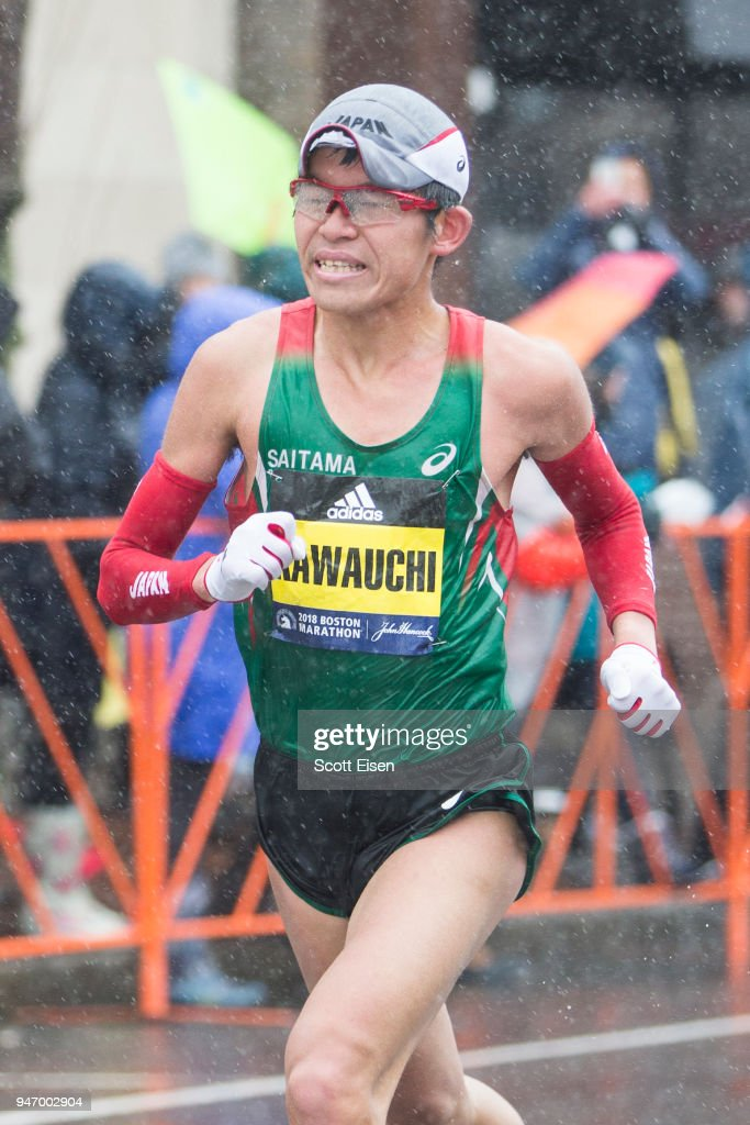 Yuki Kawauchi approaches the 24 mile marker of the 2018 Boston Marathon on April 16, 2018 in Brookline, Massachusetts. He won the race, his first major marathon win, with an unofficial time of 2:10:46.