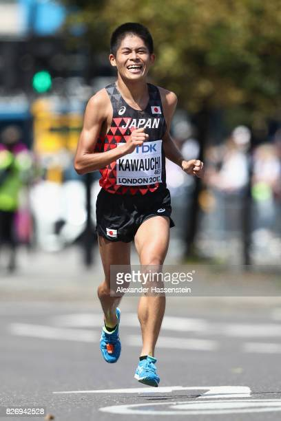 Yuki Kawauchi of Japan competes in the Men's Marathon during day three of the 16th IAAF World Athletics Championships London 2017 at The London...