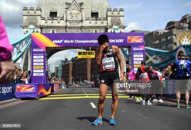 Yuki Kawauchi of Japan reacts after crossing the finishline in the Men's Marathon during day three of the 16th IAAF World Athletics Championships...