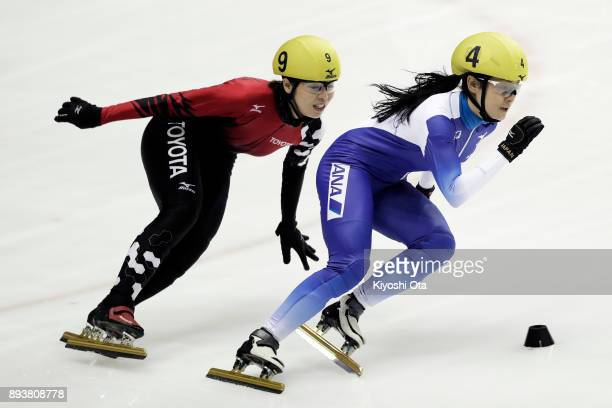 Yuki Kikuchi and Ayuko Ito compete in the Ladies' 500m Semifinal during day one of the 40th All Japan Short Track Speed Skating Championships at...