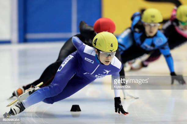Yuki Kikuchi competes in the Ladies' 1000m Semifinal during day two of the 40th All Japan Short Track Speed Skating Championships at Nippon Gaishi...