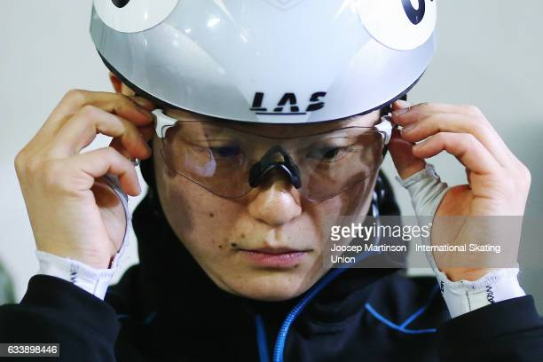 Yuki Kikuchi of Japan prepares during day two of the ISU World Cup Short Track at EnergieVerbund Arena on February 5 2017 in Dresden Germany