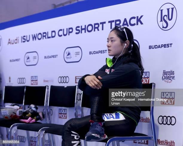 Yuki Kikuchi of Japan prepares during the Audi ISU World Cup Short Track Speed Skating at Bok Hall on September 30 2017 in Budapest Hungary