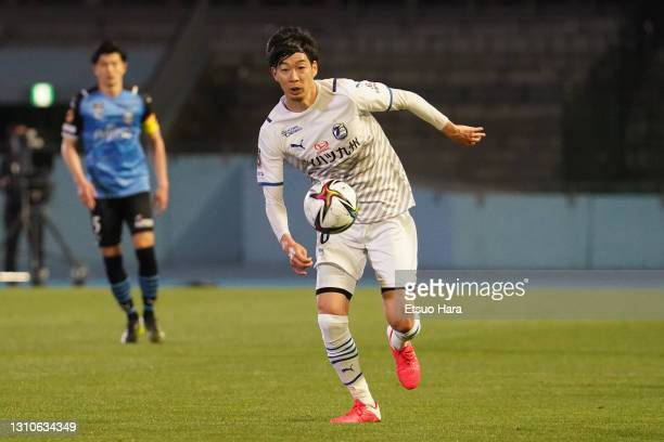 Yuki Kobayashi of Oita Trinta in action during the J.League Meiji Yasuda J1 match between Kawasaki Frontale and Oita Trinita at Todoroki Stadium on...