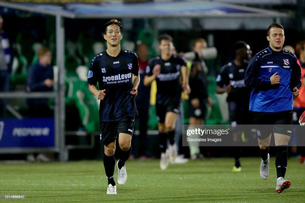 Yuki Kobayashi of SC Heerenveen celebrates the victory during the Dutch Eredivisie match between PEC Zwolle v SC Heerenveen at the MAC3PARK Stadium on August 10, 2018 in Zwolle Netherlands