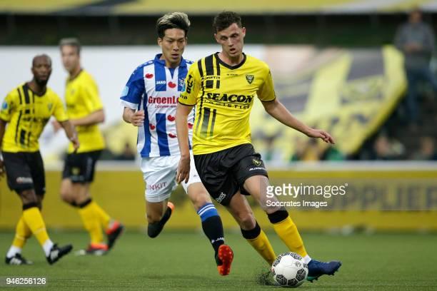 Yuki Kobayashi of SC Heerenveen Clint Leemans of VVV Venlo during the Dutch Eredivisie match between VVVvVenlo SC Heerenveen at the Seacon Stadium De...
