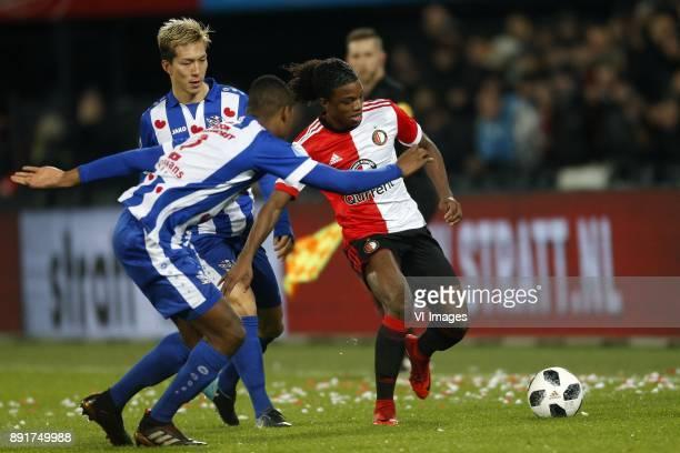 Yuki Kobayashi of SC Heerenveen Denzel Dumfries of SC Heerenveen Tyrell Malacia of Feyenoord during the Dutch Eredivisie match between Feyenoord...