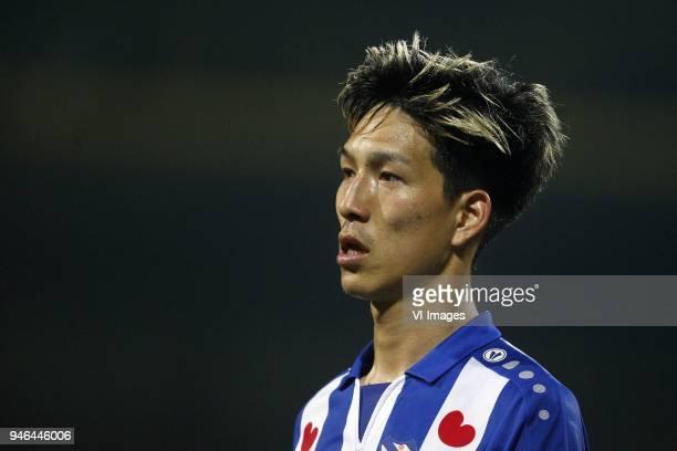 Yuki Kobayashi of SC Heerenveen during the Dutch Eredivisie match between VVV Venlo and sc Heerenveen at Seacon stadium De Koel on April 14 2018 in...