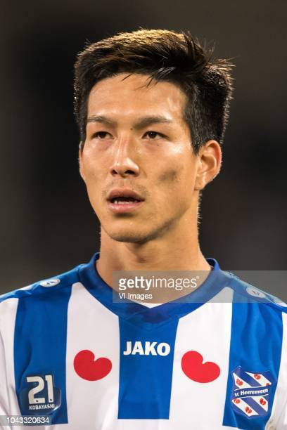 Yuki Kobayashi of sc Heerenveen during the Dutch Eredivisie match between sc Heerenveen and ADO Den Haag at Abe Lenstra Stadium on September 29 2018...