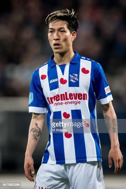 Yuki Kobayashi of sc Heerenveen during the Dutch Eredivisie match between sc Heerenveen and ADO Den Haag at Abe Lenstra Stadium on April 17 2018 in...