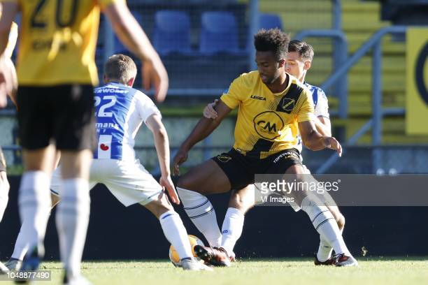 Yuki Kobayashi of sc Heerenveen Erik PalmerBrown of NAC Breda Mitchell van Bergen of sc Heerenveen during the Friendly match between NAC Breda and sc...
