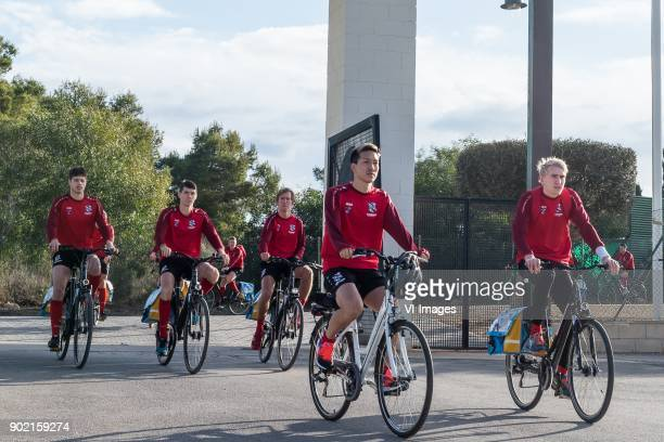 Yuki Kobayashi of sc Heerenveen in front on his way to the training location during a training session of SC Heerenveen at the La Manga Club Resort...