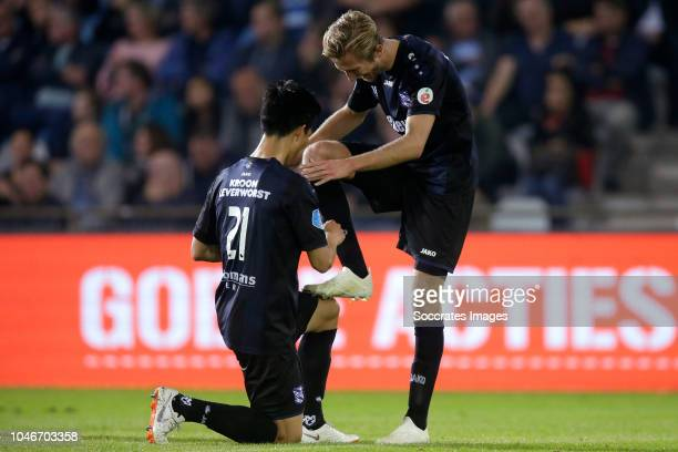 Yuki Kobayashi of SC Heerenveen Michel Vlap of SC Heerenveen during the Dutch Eredivisie match between De Graafschap v SC Heerenveen at the De...