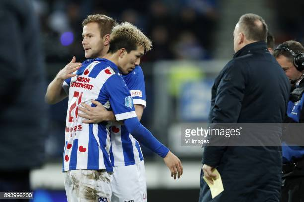 Yuki Kobayashi of sc Heerenveen Nicolai Naess of sc Heerenveen team manager Herman van Dijk of sc Heerenveen during the Dutch Eredivisie match...