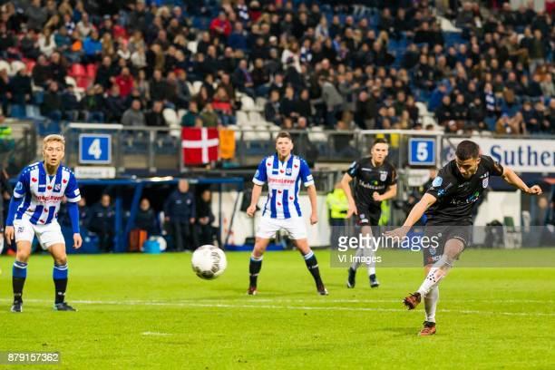 Yuki Kobayashi of sc Heerenveen Stijn Schaars of sc Heerenveen Ryan Thomas of PEC Zwolle goal Mustafa Saymak of PEC Zwolle during the Dutch...