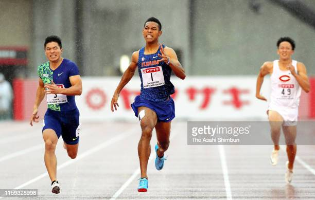 Yuki Koike, Abdul Hakim Sani Brown and Yoshihiro Someya compete in the Men's 200m final on day four of the 103rd JAAF Athletics Championships at...