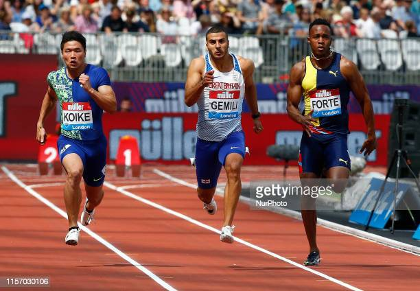 LR Yuki Koike Adam Gemili and Julian Forte Competing in 100M Men Round 1 Heat 1 during Day One of the IAAF Diamond League Muller Anniversary Games at...